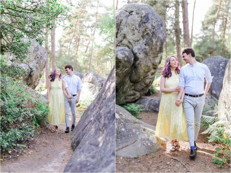 couple qui se promène dans la forêt