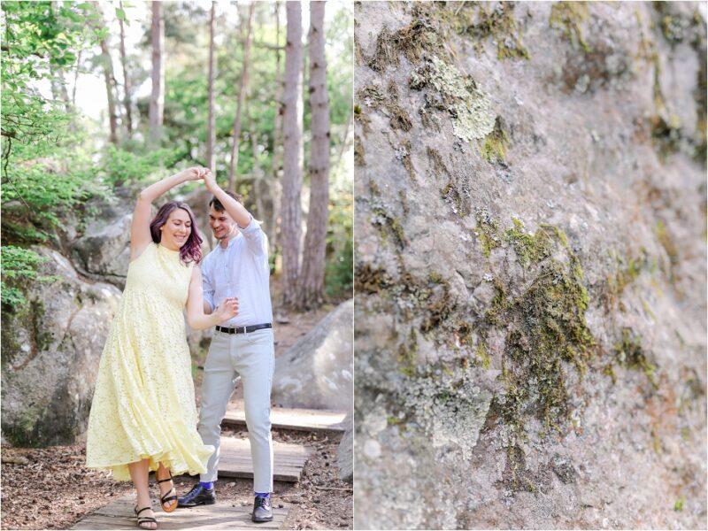 couple heureux qui danse en forêt