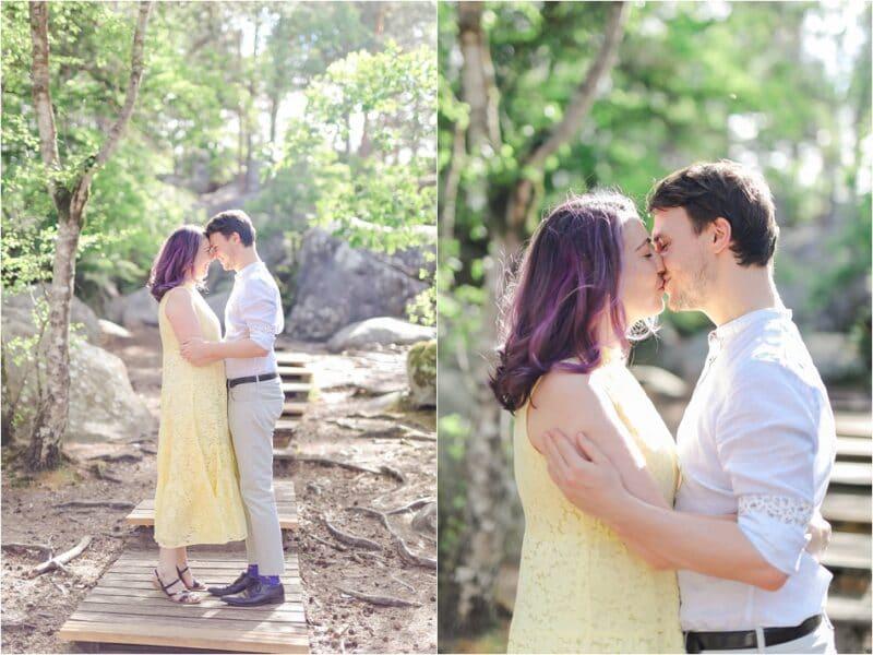 couple en forêt de bois le roi