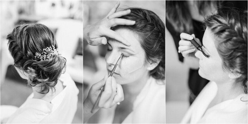 mariée qui se fait maquiller