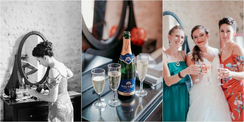mariée qui trinque au champagne
