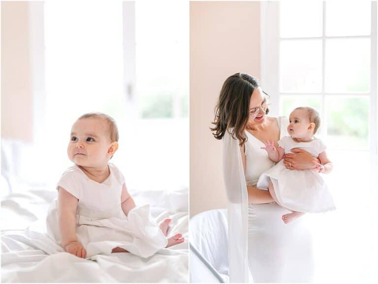portait de bébé avec maman