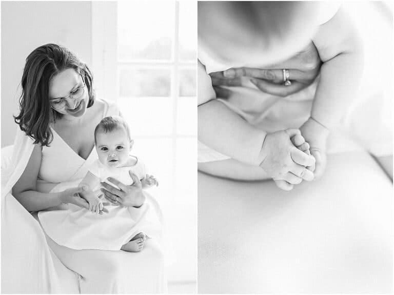 portrait de bébé en noir & blanc