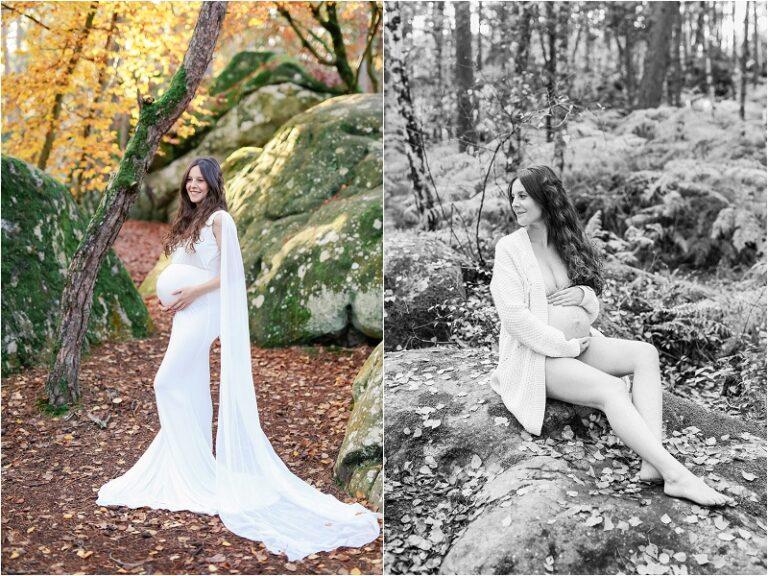 femme enceinte dans une robe blanche