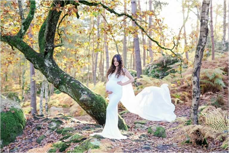 séance photo grossesse en foret devant un arbre