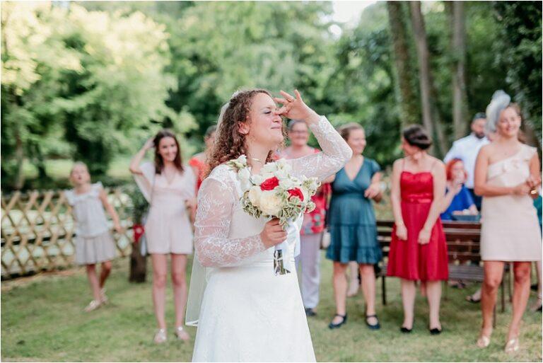 lancer de bouquet photographe mariage 77