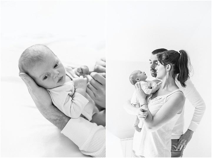 photos en noir et blanc pour une séance photo bébé