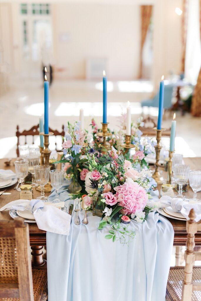 décoration mariage sur le th^me bleu