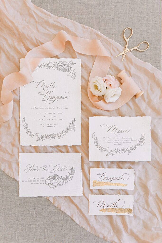 papeterie et invitations à un mariage